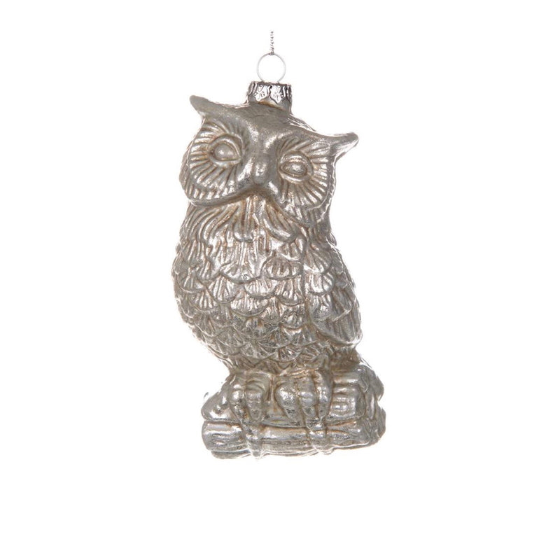 Antique Silver Owl Ornament | Putti Christmas