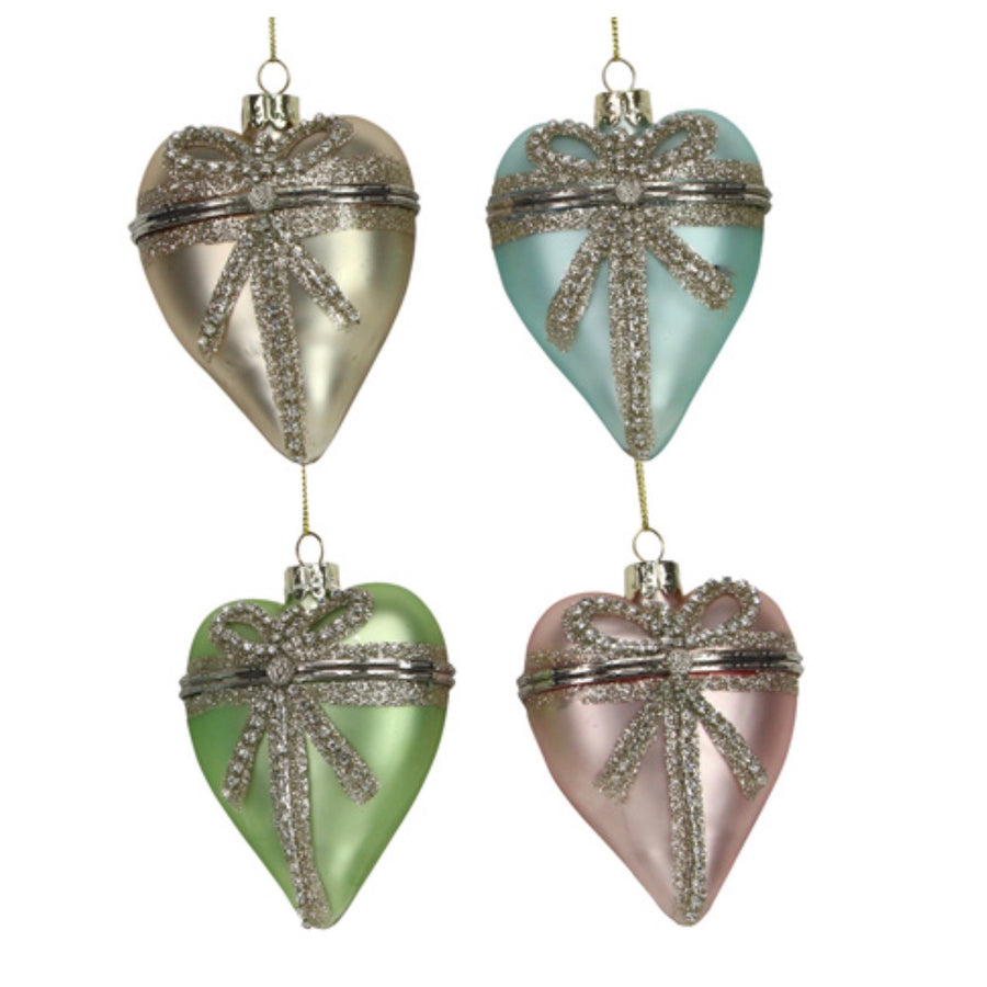 Glass Heart with Diamante Bow Trinket Box Ornament | Le Petite Putti