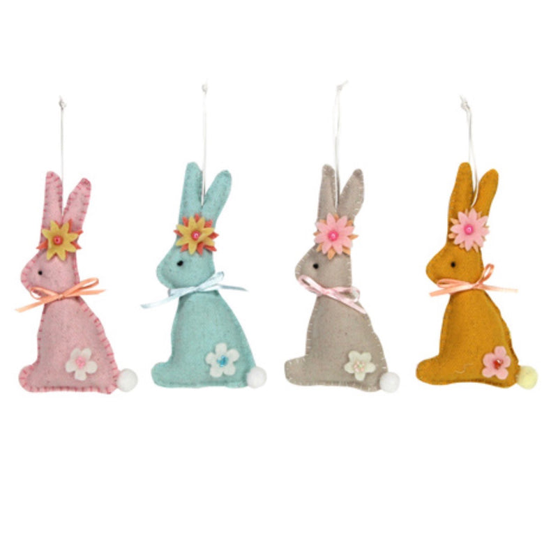 Gisella Graham Felt Pastel Bunnies with Flowers Ornaments | Le Petite Putti