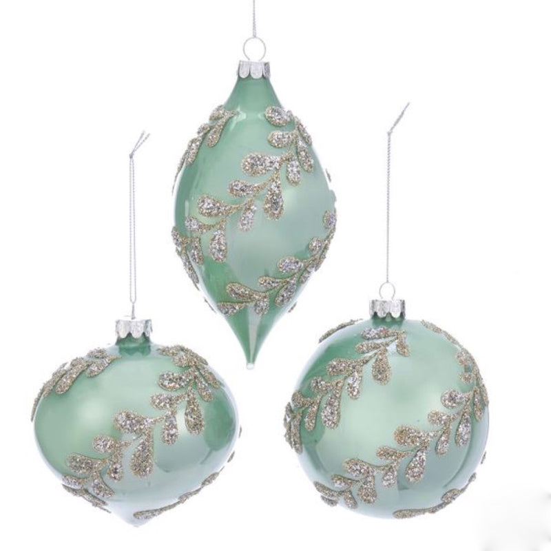 Kurt Adler Sage Green and Silver Scrolling Vine Christmas Ornaments