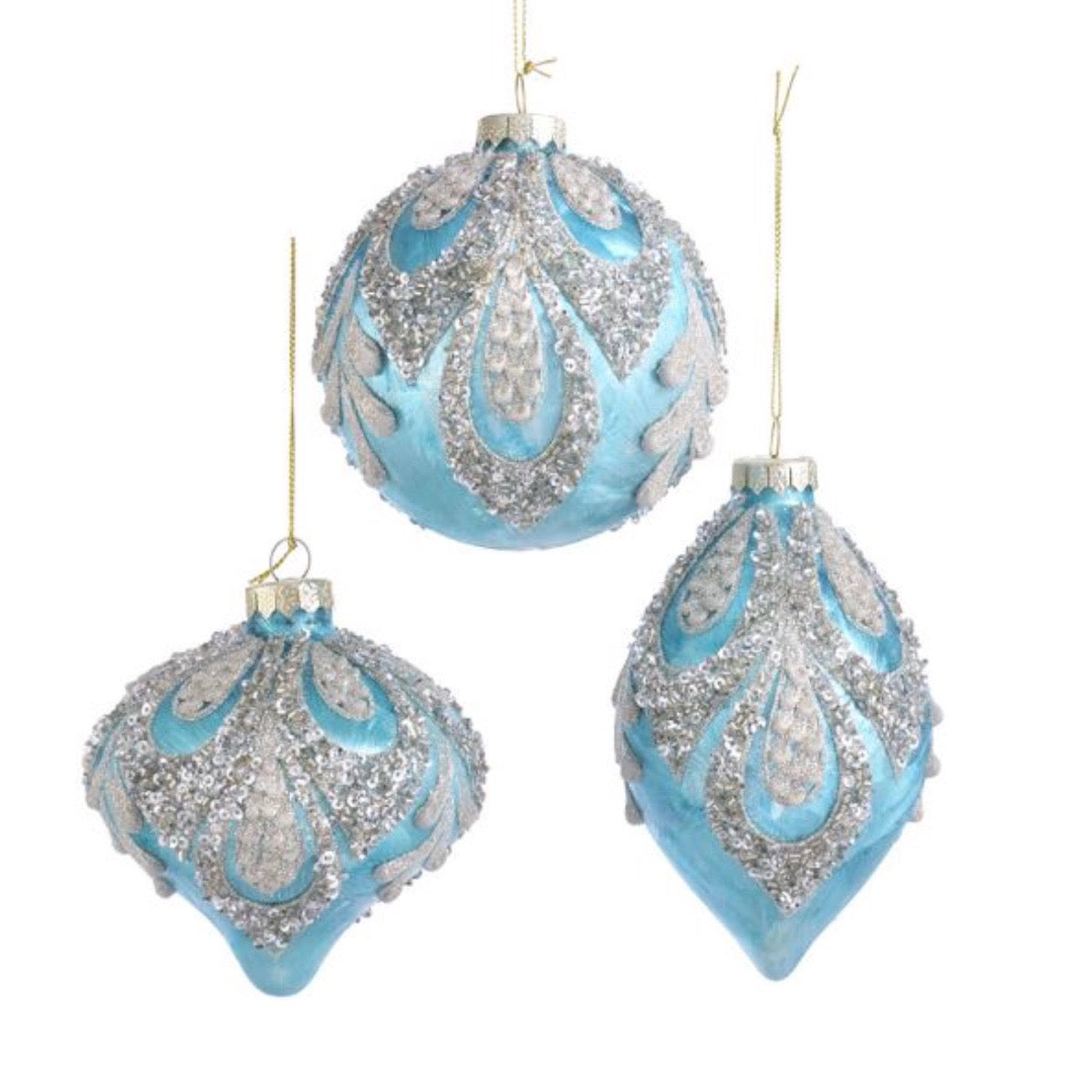 Kurt Adler Tiffany Blue Decorated Glass Ornaments | Putti Christmas