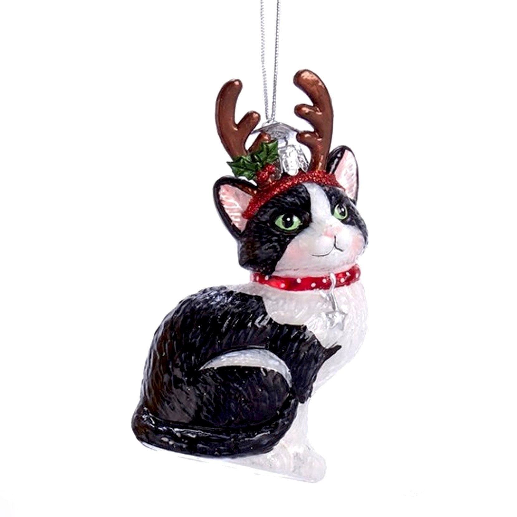 Kurt Adler Black and White Cat with Antlers Glass Ornament | Putti Christmas