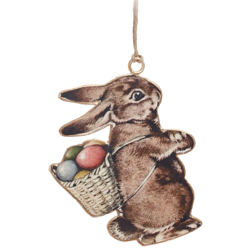 Vintage Style Rabbit with Basket of Eggs Ornament | Putti Fine Furnishings