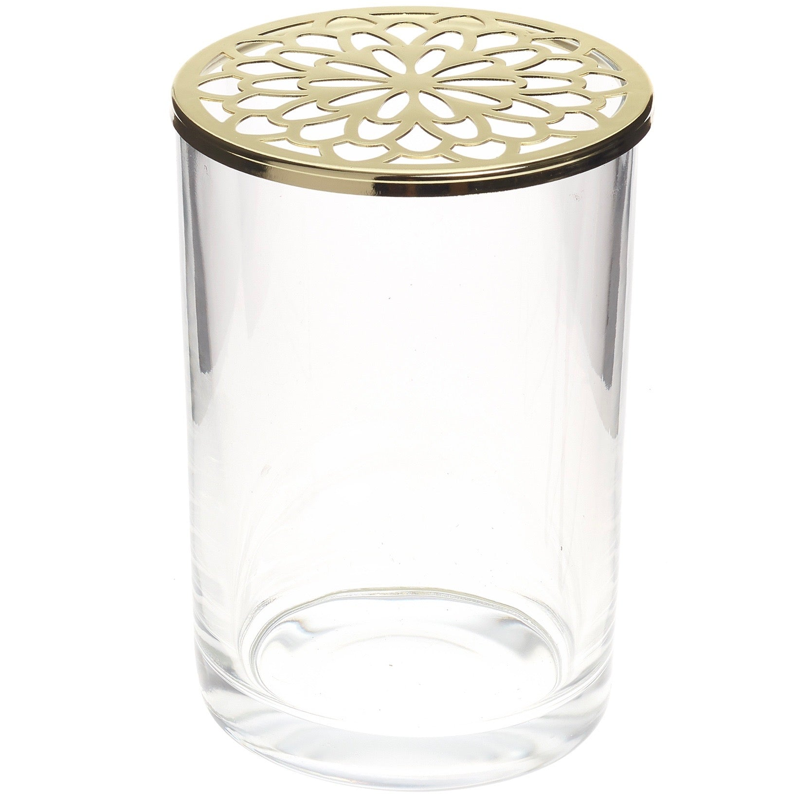 Tall Glass Vase with Gold Flower Grid Lid