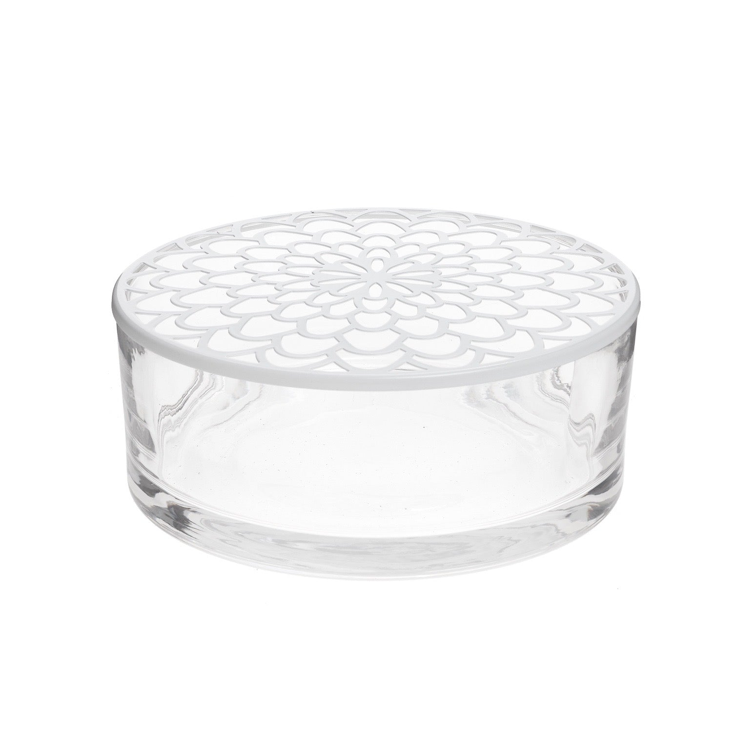 Glass Vase with White Flower Grid Lid | Putti Fine Furnishings
