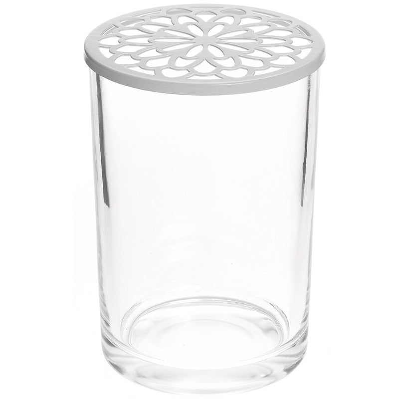 Tall Glass Vase with White Flower Grid Lid | Putti Fine Furnishings