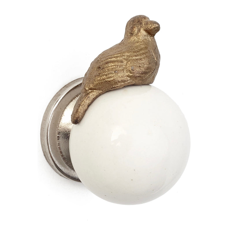 Gold Bird on White Porcelain Knob