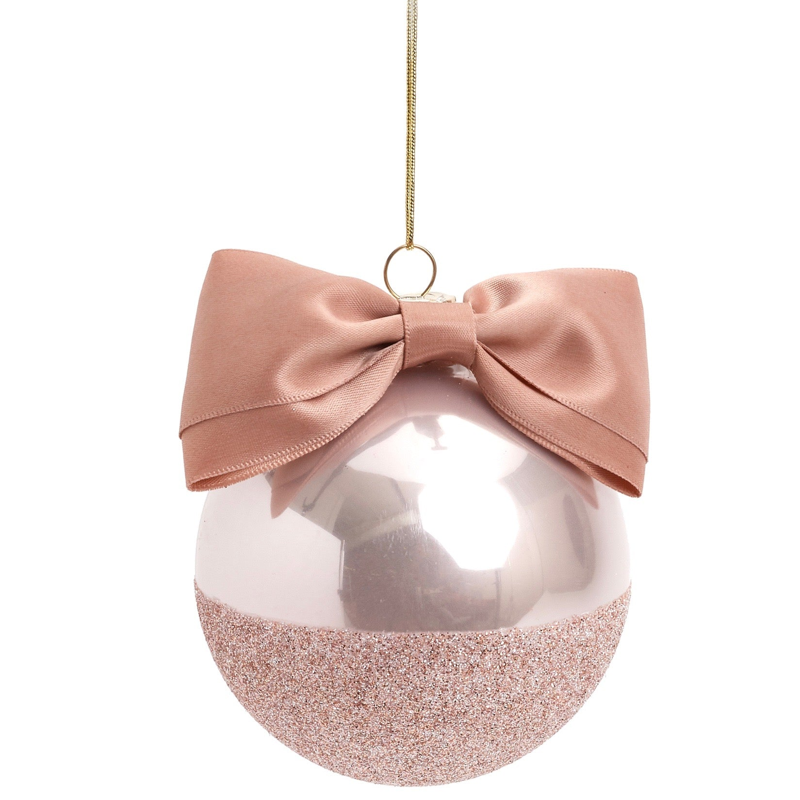 Blush Pink Glitter with Satin Ribbon Glass Ornament