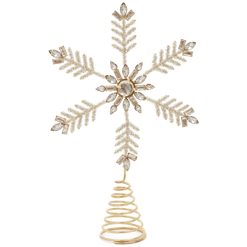 Gold Jewelled Snowflake Christmas Tree Topper