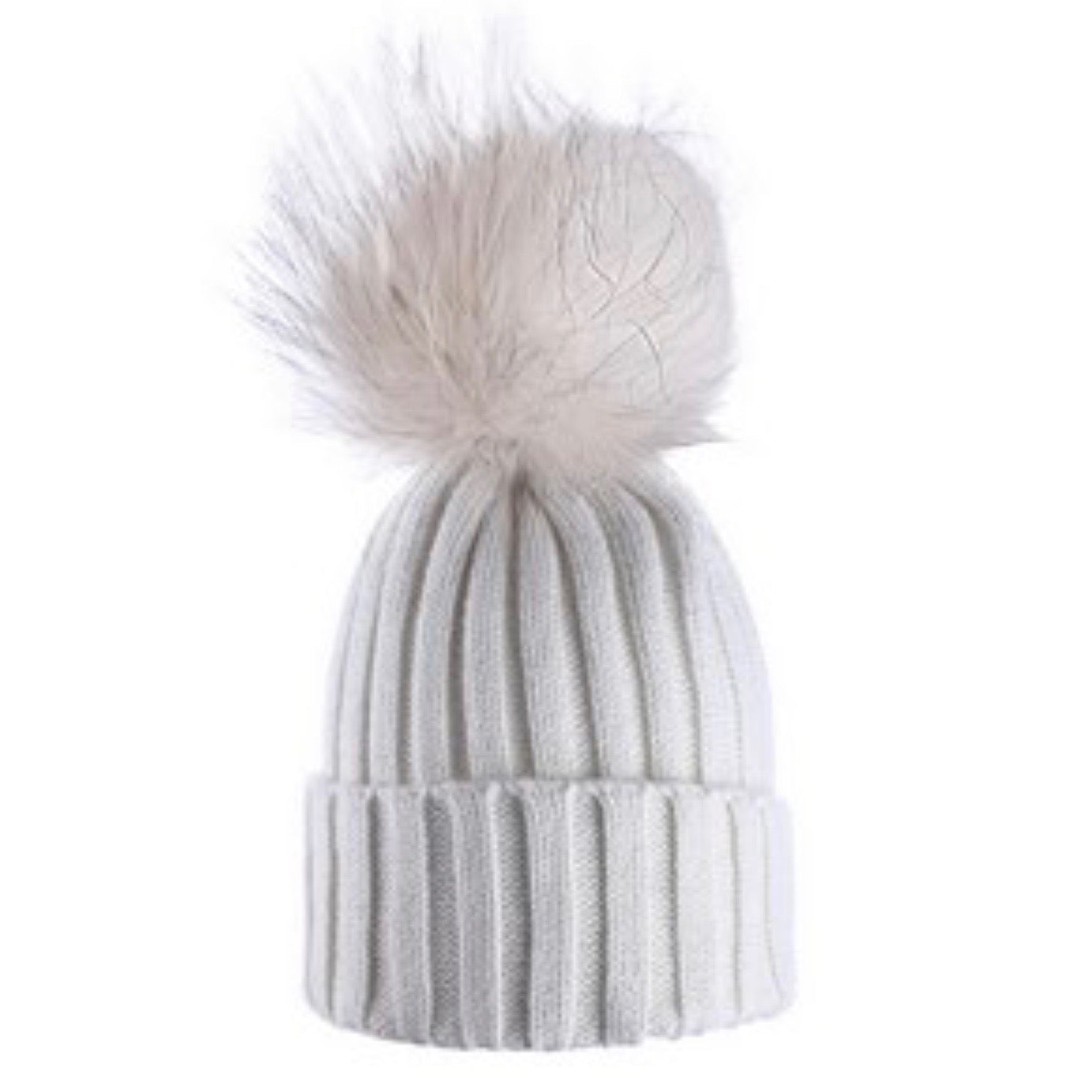 Ivory Sparkle Wool Hat with Racoon Fur Pom Pom | Putti Fine Fashions