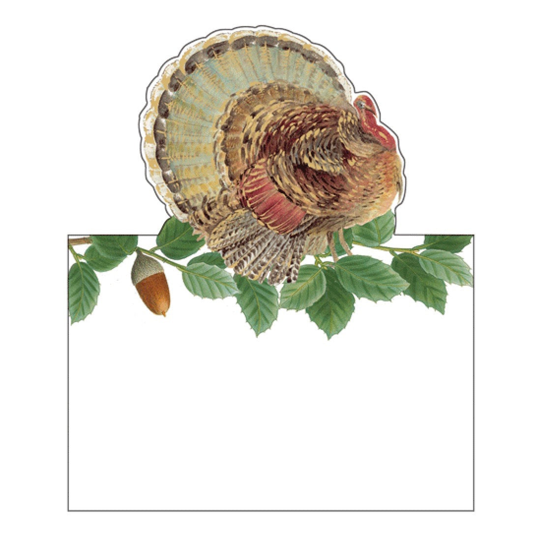 Turkey and Acorns Diecut Place Card