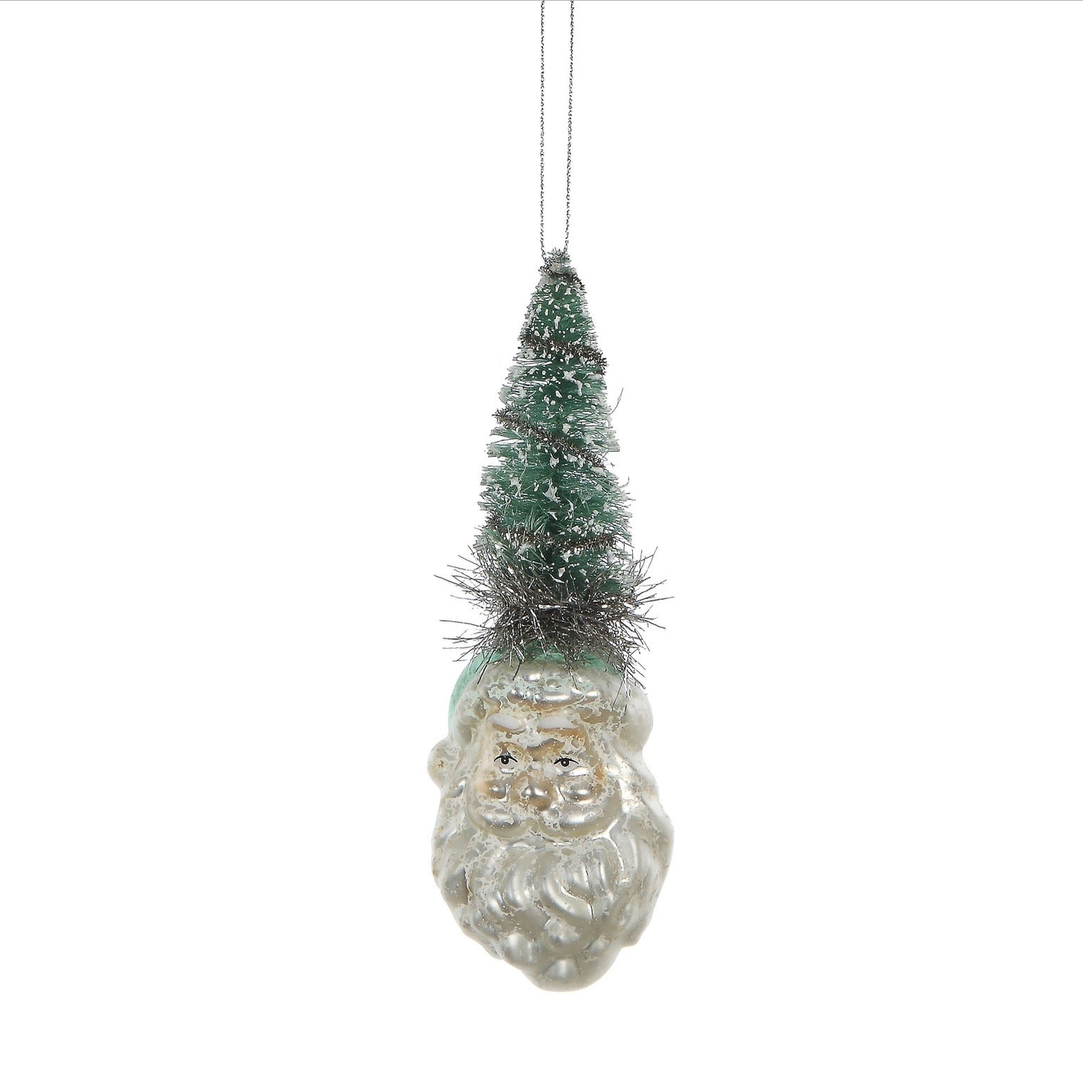 Glass Santa Head with Aqua Brush Tree | Putti Christmas Canada