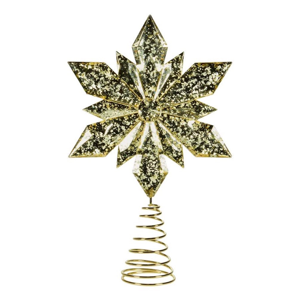 Gold Acrylic Snowflake Tree Topper - Putti Christmas Celebrations