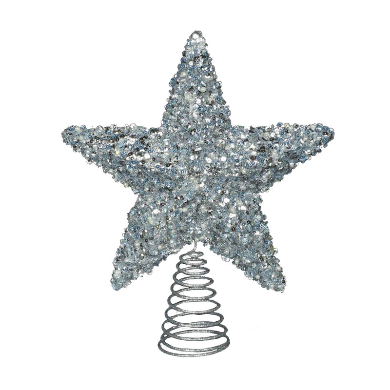 Ice Blue Glitter Star Tree Topper | Putti Christmas Celebrations Canada