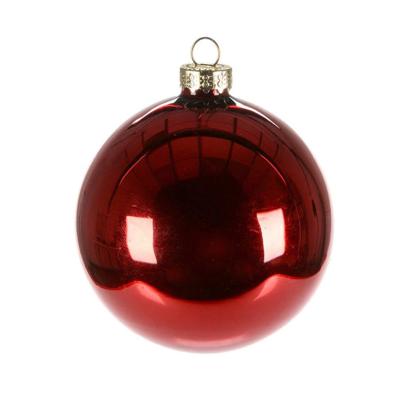 Shiny Red Glass Ball 8cm | Putti Christmas Canada