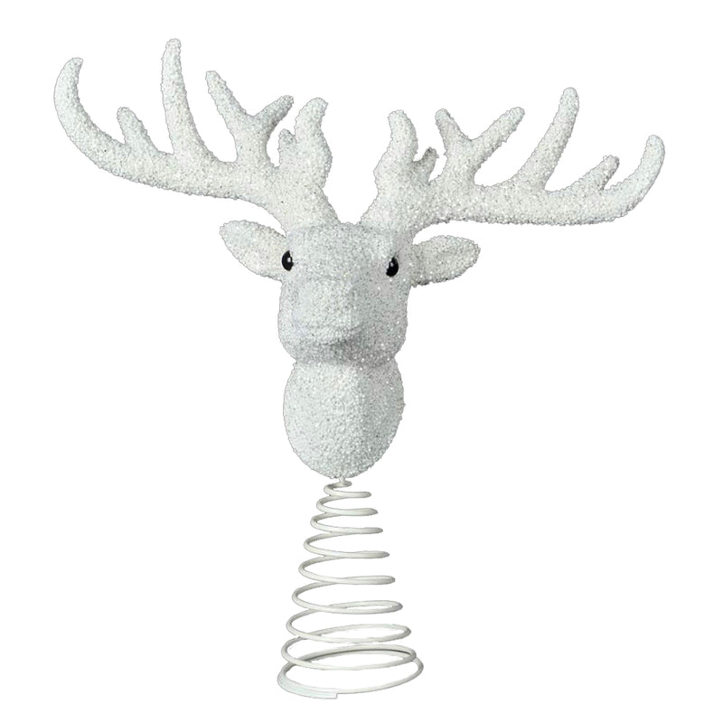 White Glitter Reindeer Head Tree Topper  | Putti Christmas Canada