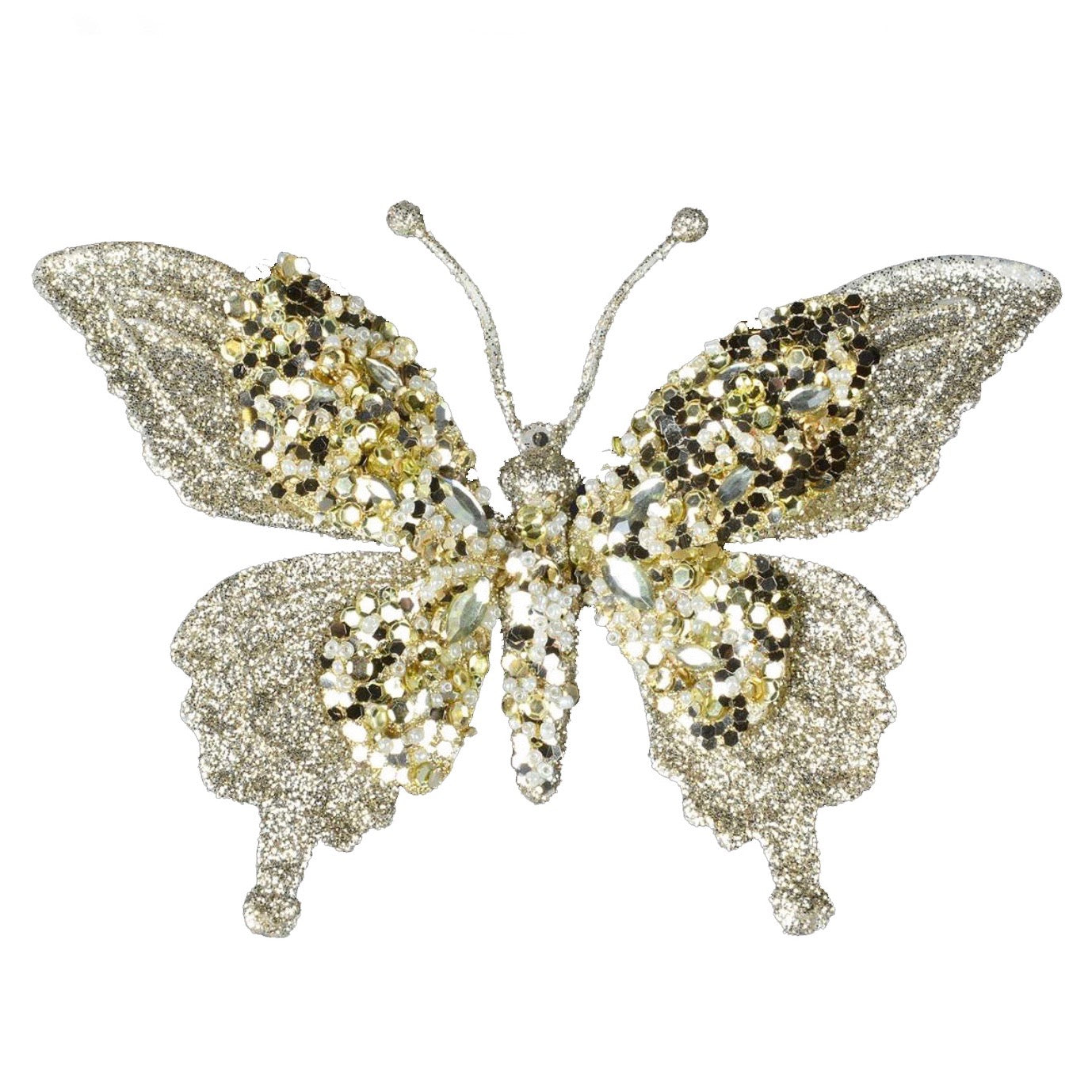 Gold Glitter Butterfly Clip  - Putti Christmas Celebrations Canada