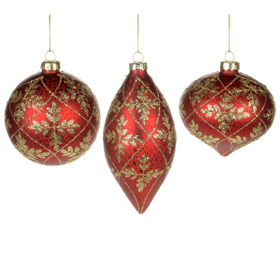 Red Glass Ornament with Gold Glitter Leaves - Ball