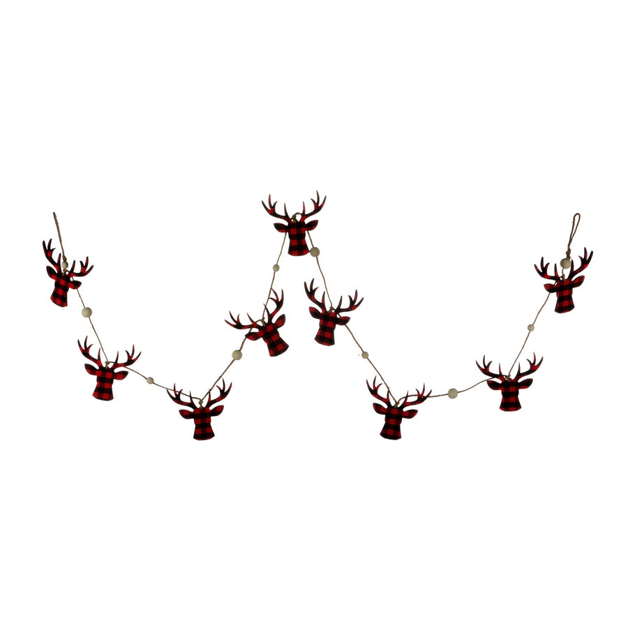 Buffalo Check Reindeer Head Garland