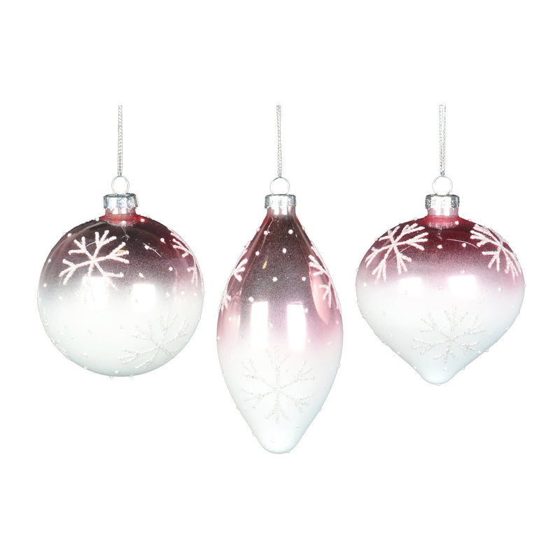 Pink Ombre Glass Ornament with Snowflakes - Double Point  | Putti Christmas Canada