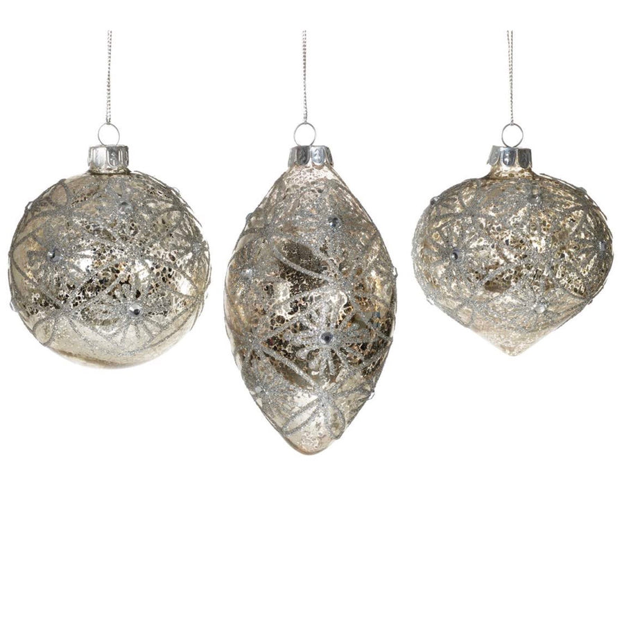 Silver Mercury Glass Ornament with Glitter Web - Double Point