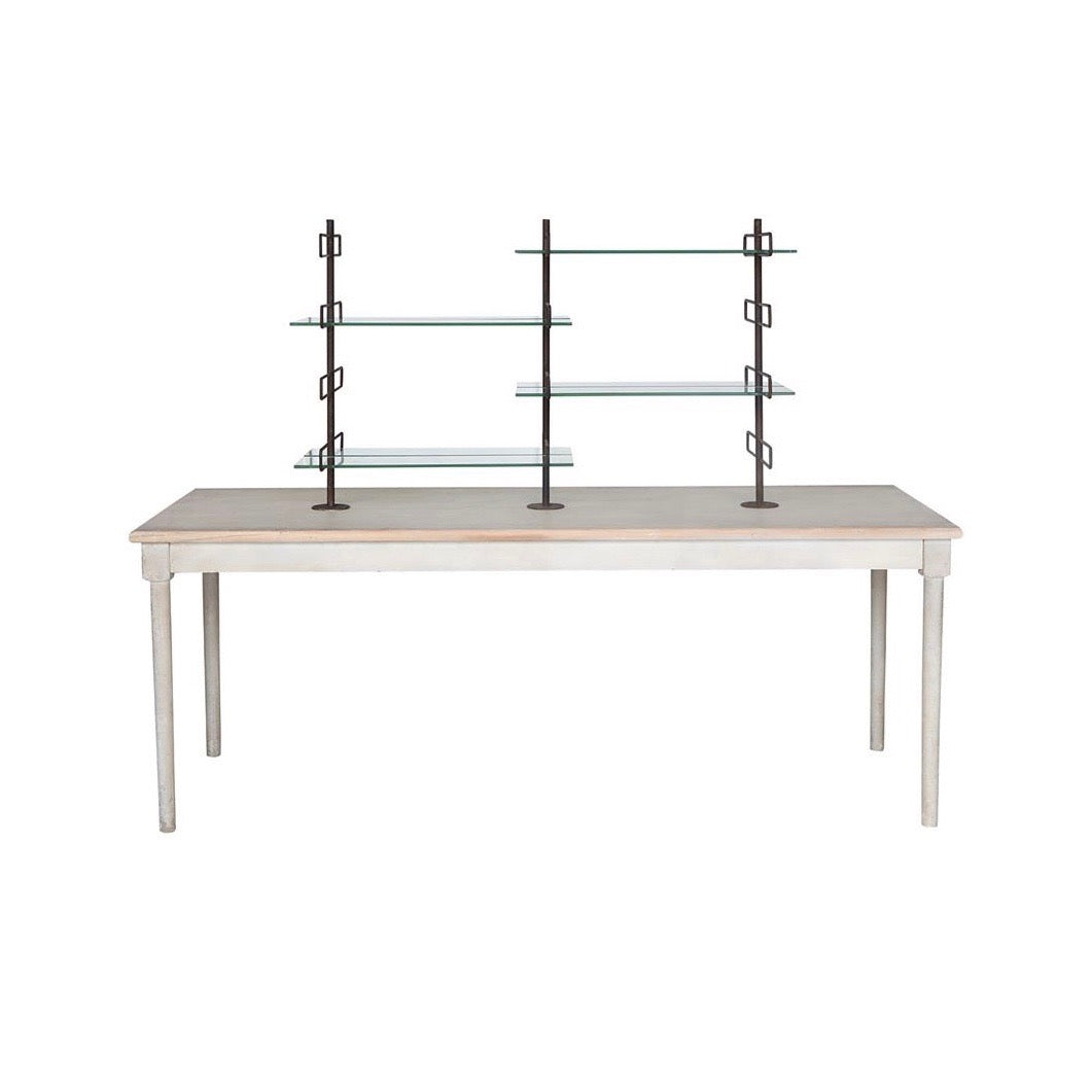 Table with Glass and Metal Shelves