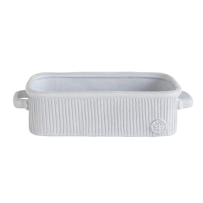 White Terra Cotta Bread Pan with Bee