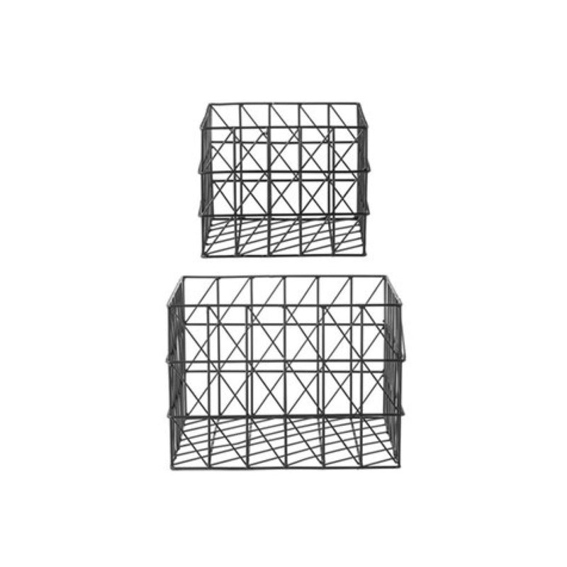 Bloomingville Black Square Metal Baskets  | Putti Fine Furnishings