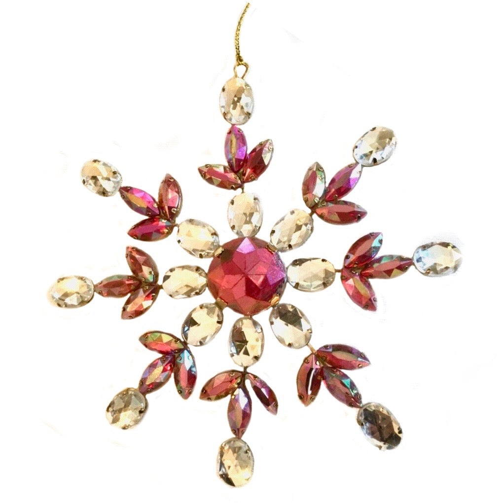 Burgundy Jewelled Snowflake Ornament
