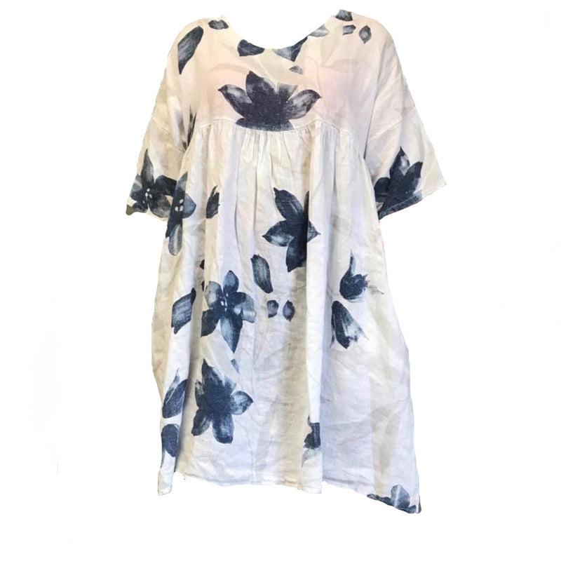 Floral Linen Smock Dress - Navy and White