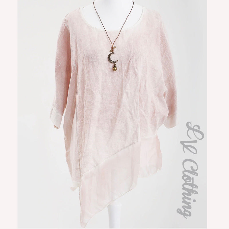 Short Sleeve Chiffon Panel Asymmetrical Top -Blush Pink