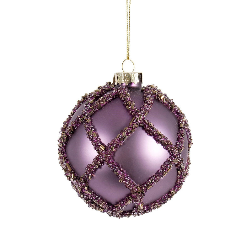 Purple with Beaded Trellis Glass Ornament | Putti Christmas Celebrations
