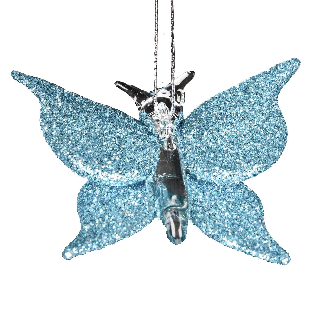 Aqua Blue Glitter Glass Butterfly Ornament | Putti Christmas Canada