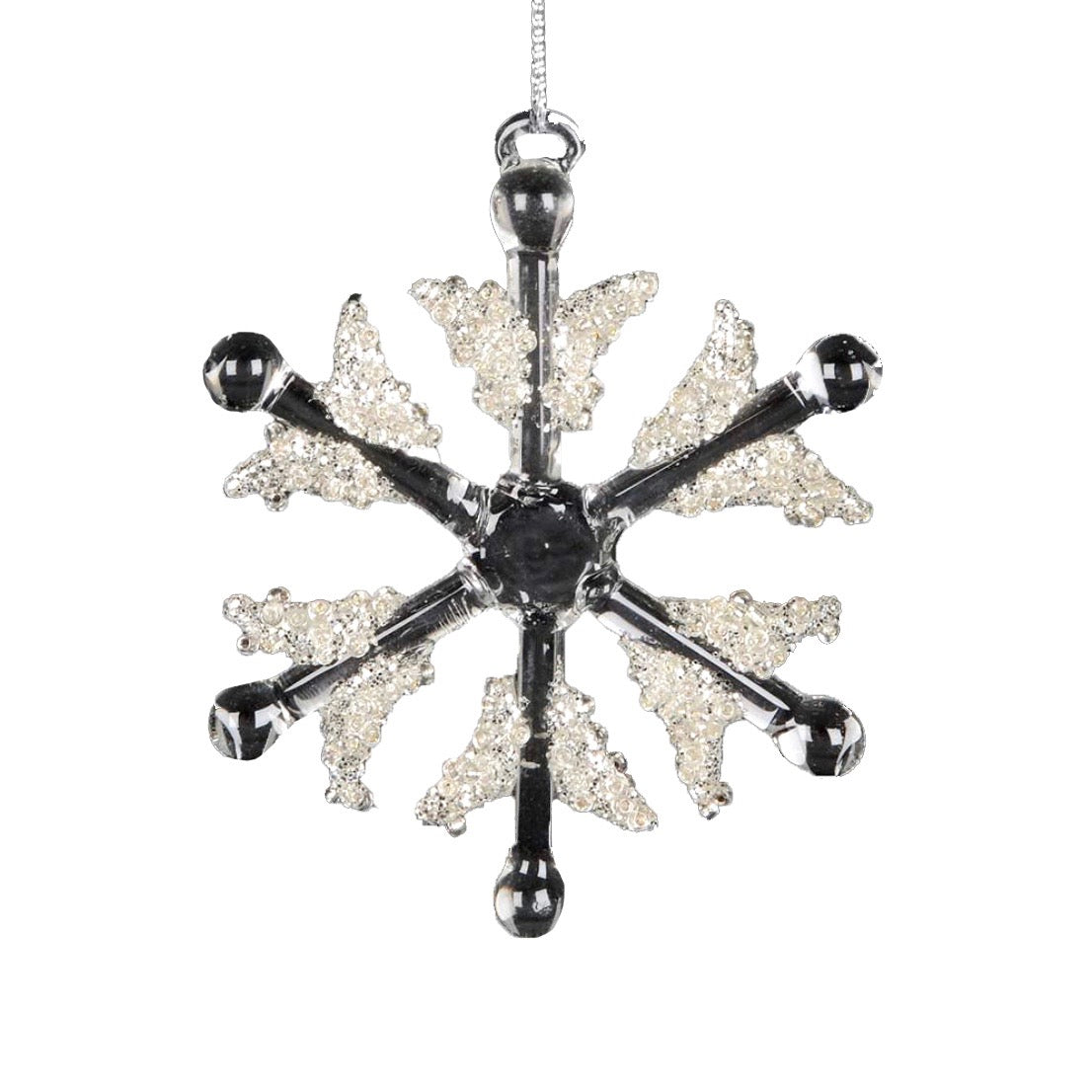 Glittered Glass Snowflake Ornament | Putti Christmas Canada