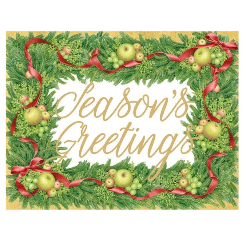 "Apples in Greenery ""Season's Greetings"" Boxed Christmas Cards 