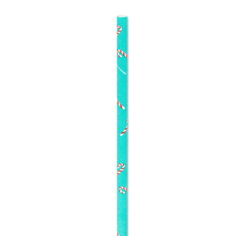 Straws with Candy Cane Print - Box of 100