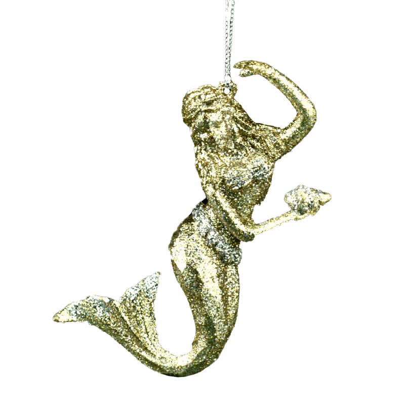 Champagne Gold Glittered Mermaid Ornament | Putti Christmas Canada