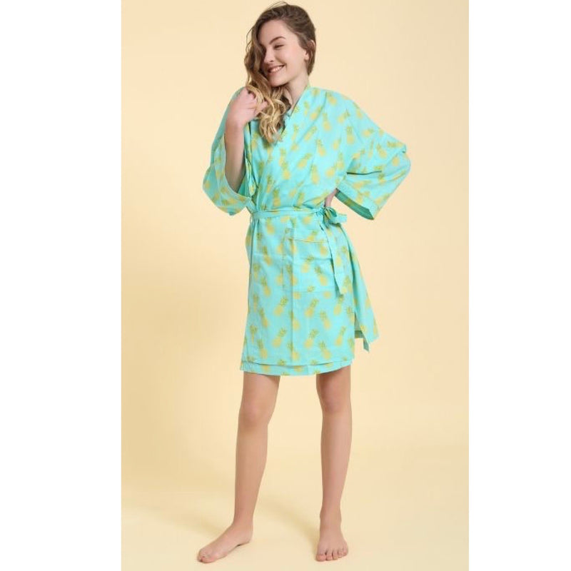 """Pineapple"" Turquoise Short Robe 