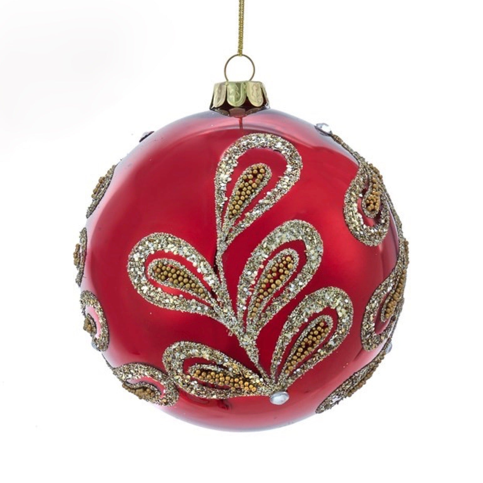 Kurt Adler Ruby Red and Platinum Glass Ball Ornaments | Putti Christmas