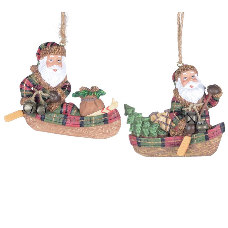 Santa in Canoe with Gifts Ornament, CT-Christmas Tradition, Putti Fine Furnishings
