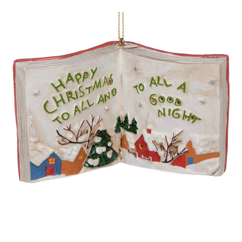 """Happy Christmas to All"" Book Ornament"