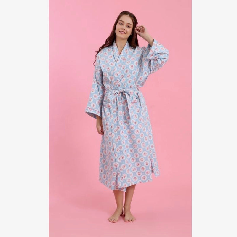 "Mahogany ""Addison"" Blue Flannel Robe 