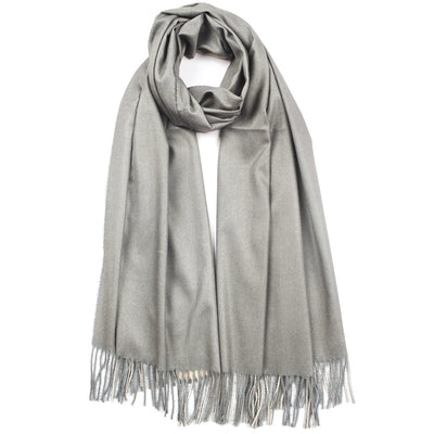 Two-Sided Plain Cashmere Tassel Scarf Pink / Grey | Putti Fine Fashions