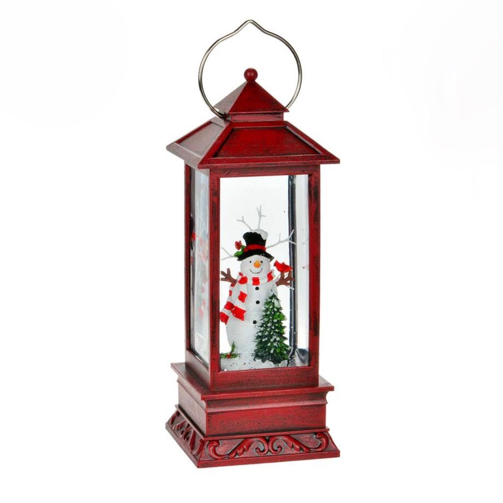 Snowman Perpetual Snow Red Lantern with Light | Putti Christmas Shop