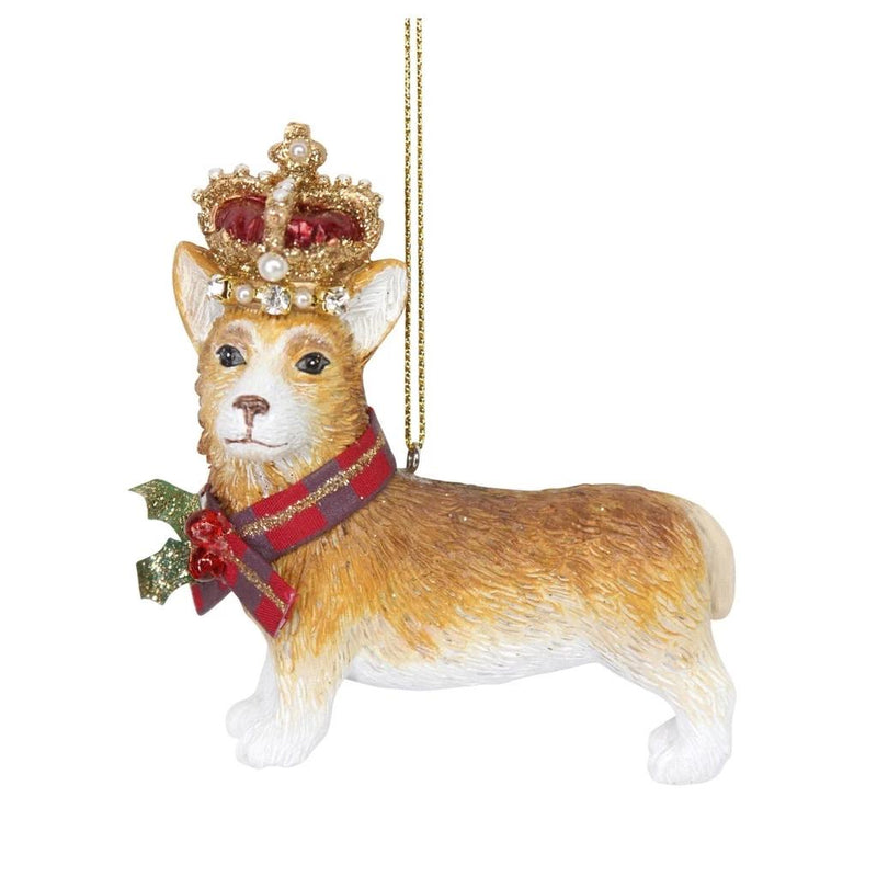 Royal Balmoral Corgi with Crown Ornament  | Putti Christmas Canada