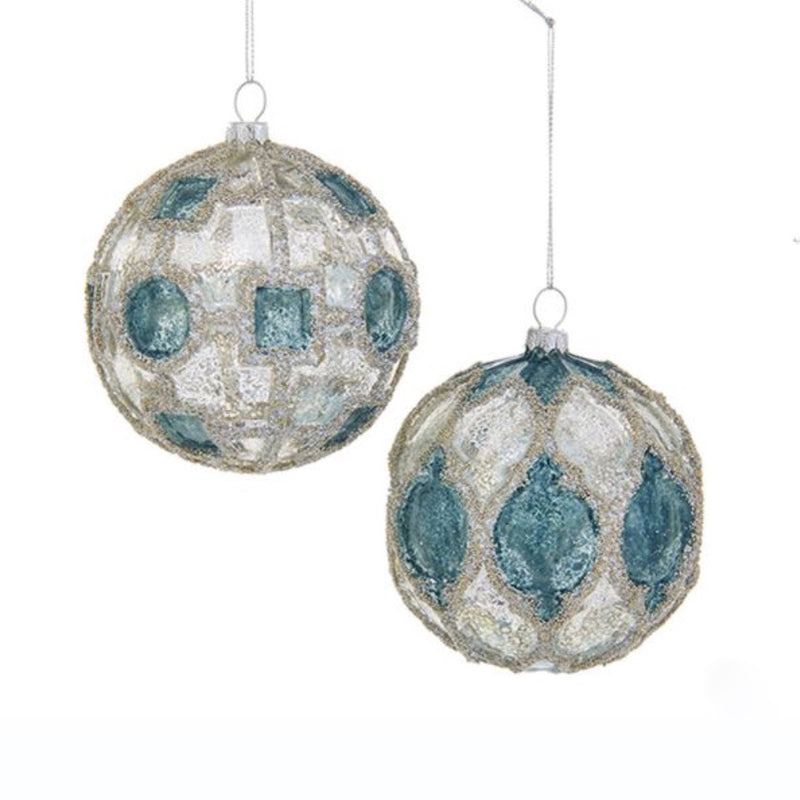 Kurt Adler Aqua and Silver Molded Glass Ball Ornament