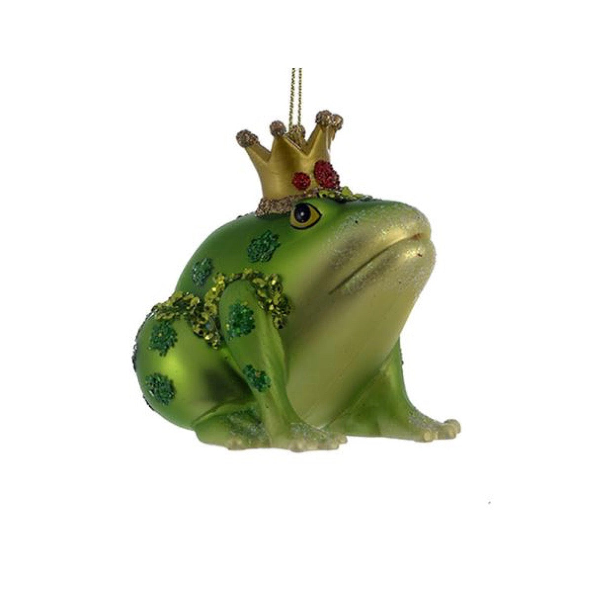 Kurt Adler Frog With Crown Glass Ornament | Putti Christmas Decorations