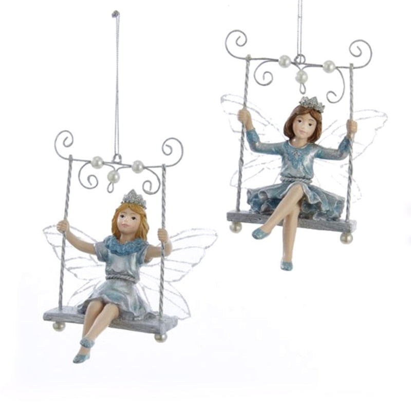 Kurt Adler Platinum and Teal Fairy on Swing Ornament
