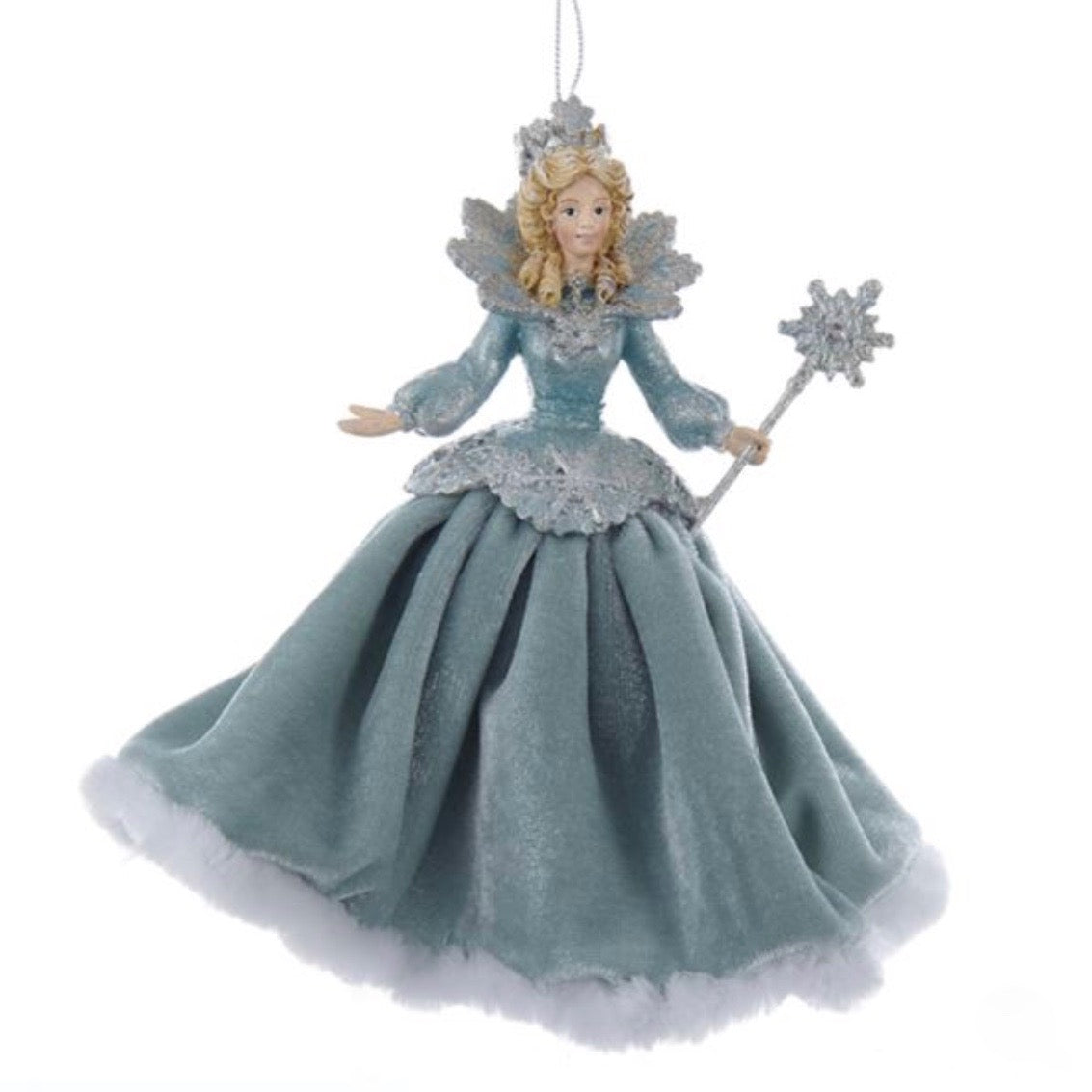 Kurt Adler Platinum and Teal Snow Queen with Fabric Dress Ornament