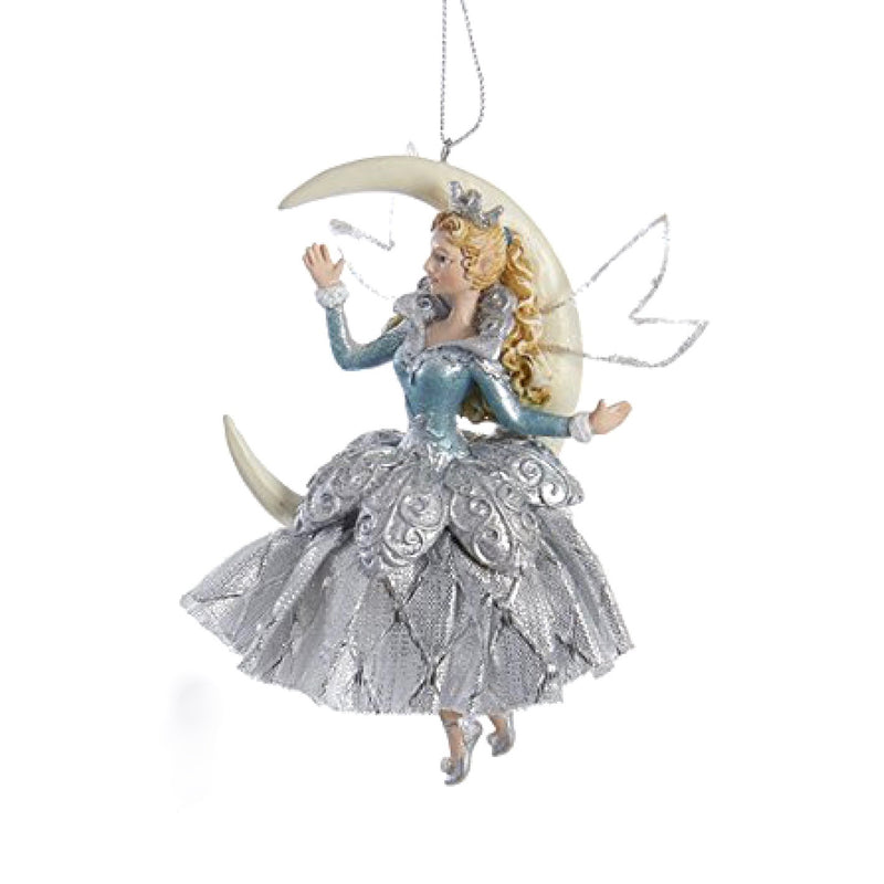Kurt Adler Platinum and Teal Moon Fairy Ornament | Putti Christmas Decorations